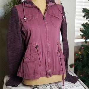 Others Follow Maroon Hoodie Zip Up Jacket